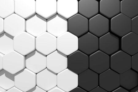 blacks: 3d rendering of some white hexagons and  blacks