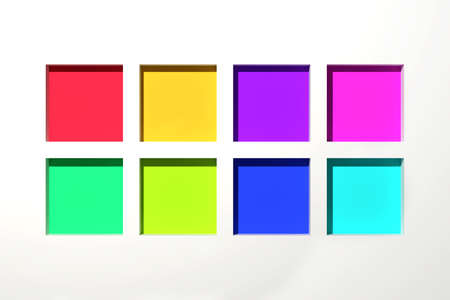 varied: 3d rendering of a modern composition with colored squares