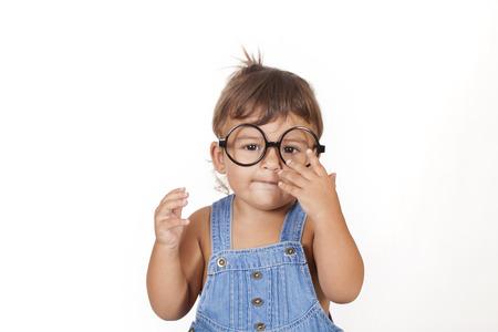 caucasian girl: beautiful caucasian girl with glasses Stock Photo