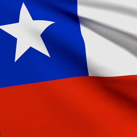 flag of chile: 3d prestaci�n de una bandera de Chile Foto de archivo