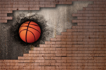3d rendering of a basket ball embedded in a brick wall