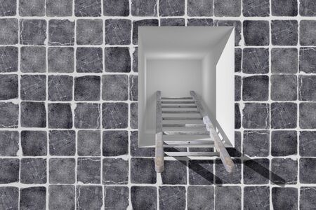 aspirational: 3d rendering of a ladder into a hole, concept of growth and progress Stock Photo