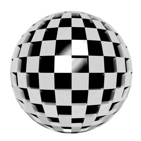 curve ball: 3d rendering of an abstract black and white sphere Stock Photo
