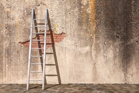 concrete stairs: 3d rendering of a ladder on a dirty wall
