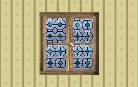 old window: 3d rendering of an old window with colored glass Stock Photo