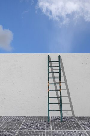 step well: 3d rendering of a ladder in a wall, concept of growth and progress Stock Photo