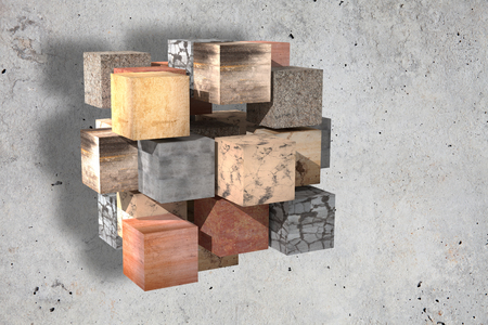 3d rendering of a lot of textured stones cubes