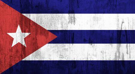 bandera cuba: Vieja y sucia bandera de Cuba con textura Foto de archivo