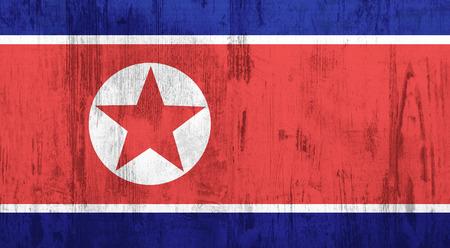 korea flag: Old and dirty textured north Korea flag