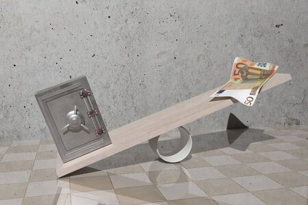 billet: design in 3d of a security steel and a billet on a balance