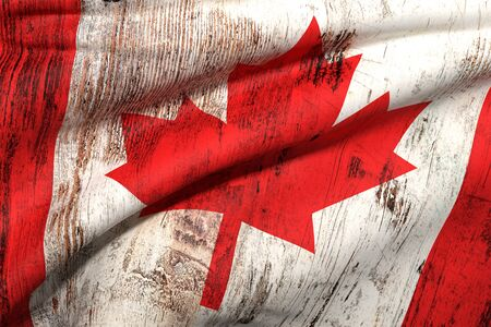 canada flag: 3d rendering of an old and dirty canada flag