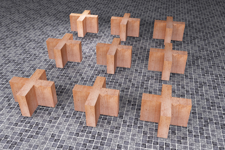 crossings: 3d rendering of an abstract composition of some crossings on a tiles floor