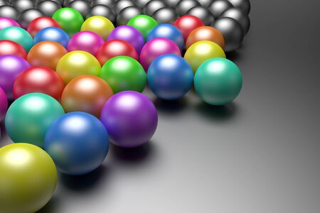 individual color: 3d rendering of a lot of balls some of them very colored