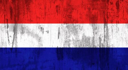 holland flag: Illustration of an old and dirty Holland flag Stock Photo