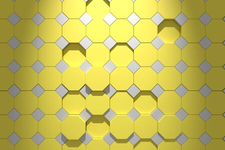 octagonal: 3d rendering of some colored octagons Stock Photo