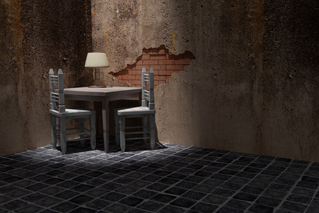 dirty room: 3d rendering of a rustic table and chairs on a dirty room Stock Photo
