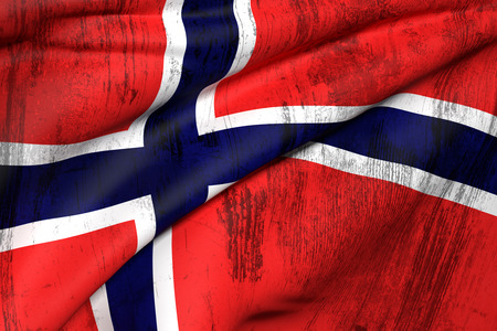 union flag: 3d rendering of an old and dirty Norway flag Stock Photo