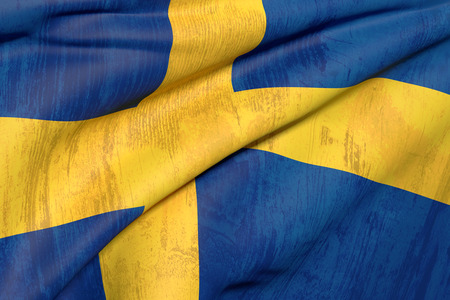 sweden flag: 3d rendering of an old and dirty  Sweden flag Stock Photo