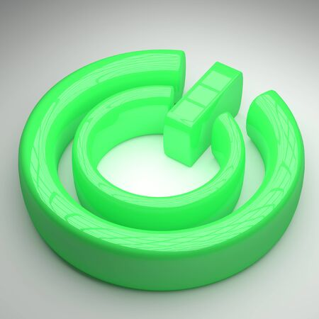 on off button: 3d rendering of a green on off  button on a white background