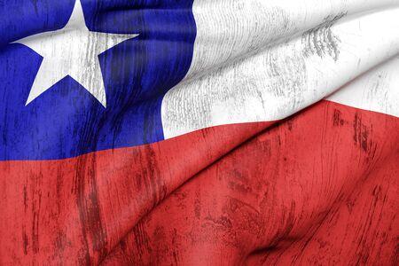bandera de chile: 3d prestaci�n de un viejo y sucio bandera ondeando Chile