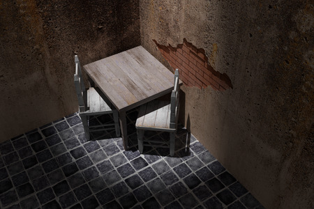 dirty room: 3d rendering of a rustic table and chairs in a dirty room