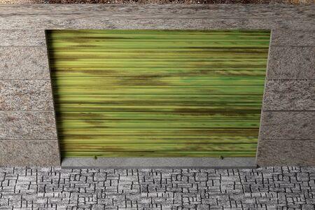 exit door: 3d rendering of a garage exit door