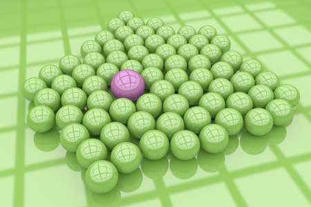 individual color: 3d rendering of a lot of balls, one of them is different