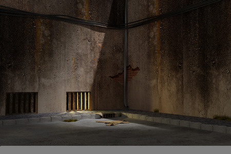 dark: 3d rendering of an old and dirty dark alley Stock Photo