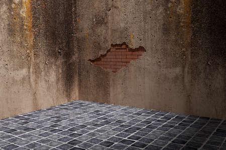 pared rota: representaci�n 3D de una pared sucia y rota Foto de archivo