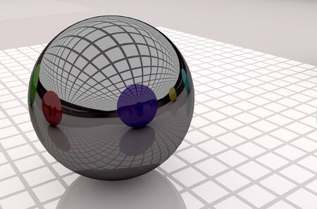 individual color: 3d rendering of a black ball with great reflection Stock Photo