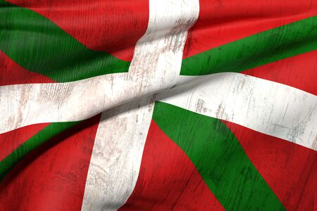 3d rendering of an old and dirty Basque country flag