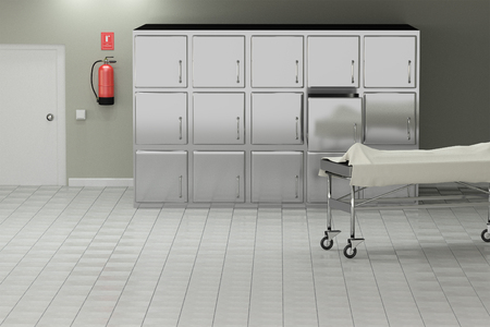 macabre: 3d rendering of a macabre autopsy room
