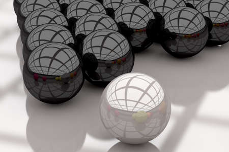 3d rendering of a white and black balls with great reflection