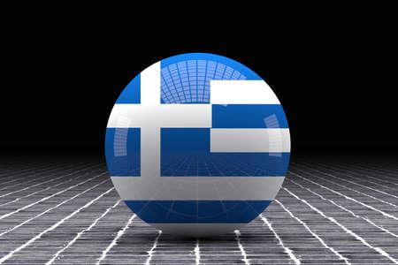 tiles floor: 3d rendering of a Greece flag on a sphere on a tiles floor
