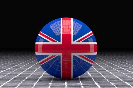 tiles floor: 3d rendering of an united kingdom flag on a sphere on a tiles floor Stock Photo