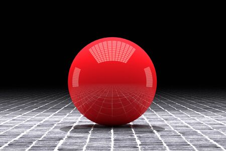 red sphere: 3d rendering of an abstract composition with a red sphere Stock Photo