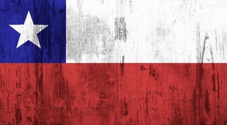 bandera de chile: Old and dirty textured Chile flag