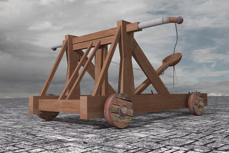 catapult: 3d rendering of an old wood catapult