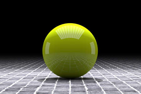 individual color: 3d rendering of a yellow ball with great reflection on a tiles floor
