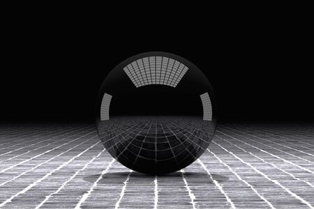 tiles floor: 3d rendering of a black ball with great reflection on a tiles floor Stock Photo
