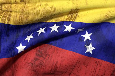 bandera de venezuela: Representaci�n 3D de una bandera sucia y vieja Venezuela