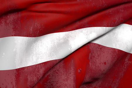 latvia flag: 3d rendering of an old and dirty Latvia flag waving