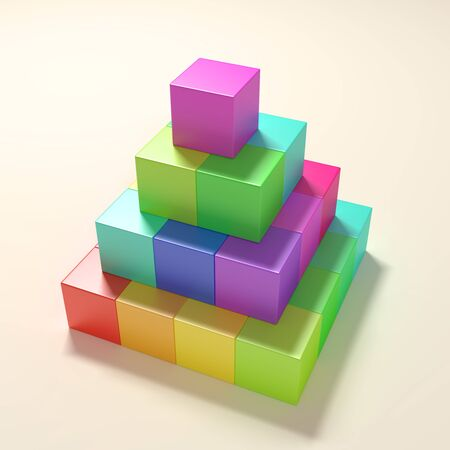 building block: 3d rendering of a colored cubes pyramid