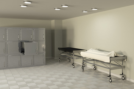victim: 3d rendering of a macabre autopsy room