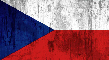 czech republic flag: Illustration of an old and dirty Czech Republic flag Stock Photo