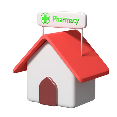 sick people: 3d rendering of a cartoon building pharmacy