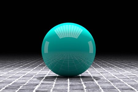tiles floor: 3d rendering of a blue ball with great reflection on a tiles floor