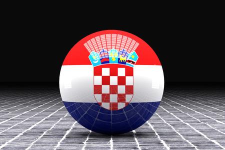 croatia flag: 3d rendering of a Croatia flag on a sphere