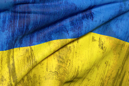 ukraine flag: 3d rendering of an old and dirty Ukraine flag