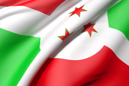 burundi: 3d rendering of a Burundi flag Stock Photo